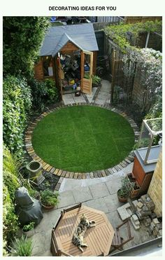 Circular Garden Edging A Circular Lawn With A Brick Border Small Garden Idea Round Garden Edging Ideas Buy Flowers Online Same Day Delivery 9 Fabulous Xeriscape Ideas - bahçe peyzaj ve dizayn fikirleri Do you think your back yard is too small for anythin Small Backyard Landscaping, Backyard Garden Design, Landscaping Ideas, Backyard Ideas, Small Patio, Backyard Designs, Balcony Garden, Garden Design Ideas, Garden Retreat Ideas