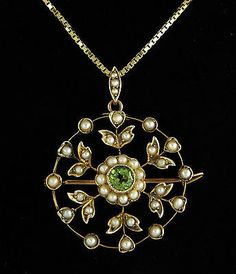 1880s-ANTIQUE-VICTORIAN-SEED-PEARLS-PERIDOT-9ct-ROSE-GOLD-BROOCH-PENDANT-CHAIN