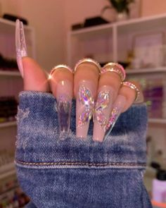 Drip Nails, Bling Acrylic Nails, Best Acrylic Nails, Bling Nails, Acrylic Nail Designs, Swag Nails, Gel Nails, Ballerina Acrylic Nails, Dope Nail Designs