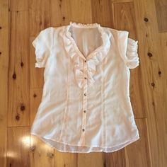 Dress shirt Pale pink see through short sleeve dress shirt in excellent condition. Sanctuary Tops Blouses