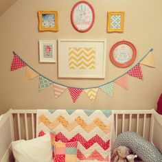 Nursery Gallery Wall. Coral, turquoise, yellow.