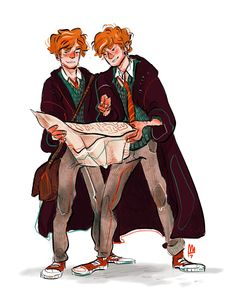 Happy birthday Fred and George Weasley! Art by smelslikeart. Pinned by - harry potter fan art wizarding world wizard witch hogwarts magic fantasy jk rowling potterhead weasley twins maurauders map solemnly swear I am up to no good mischief managed Fanart Harry Potter, Harry Potter World, Arte Do Harry Potter, Harry Potter Artwork, Harry Potter Drawings, Harry Potter Universal, Harry Potter Fandom, Harry Potter Characters, Harry Potter Memes