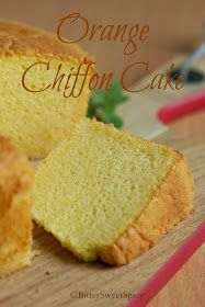 I made this Orange Chiffon Cake two weeks ago. I decided to bake it after I saw Sonia posted hers. Sonia's chiffon cake looks so beautiful. Asian Desserts, Desserts To Make, Delicious Desserts, Bolo Chiffon, Orange Chiffon Cake, Cotton Cheesecake, Cheesecake Cupcakes, Orange Sponge Cake, Cake Recipes