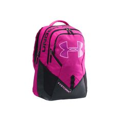 Under Armour Big Logo IV Backpack - Magenta Shock/Black/Verve Violet ($70) ❤ liked on Polyvore featuring bags, backpacks, logo backpacks, day pack backpack, backpack laptop bags, top handle bags and backpack bags