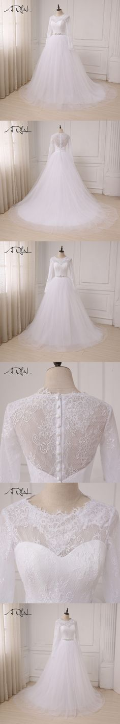 ADLN In Stock Cheap White Wedding Dresses Applique Lace Tulle A-line Long Sleeves Arabic Bridal Gowns Back Zipper with Buttons