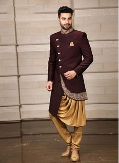 Be your very own style diva with this stylish wine color indo western suit . It come with matching bottom. Note: mala, mojdi and safa(turban) only for photoshoot purpose. Sherwani For Men Wedding, Wedding Dresses Men Indian, Groom Wedding Dress, Sherwani Groom, Mens Sherwani, Bride Groom, Mens Indian Wear, Mens Ethnic Wear, Indian Men Fashion