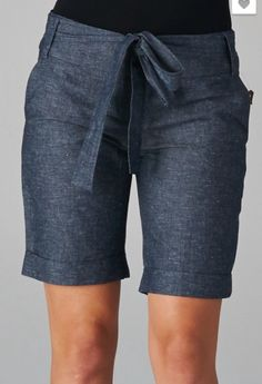 Chambray Bermuda (Length) Shorts with Waist Tie are as comfortable as they are flattering. You'll wear these beauties into the fall for sure. Looks great with a shirt tucked in or hitting at the hips.