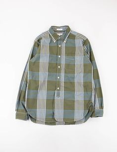 Engineered Garments Olive/Blue Cotton Plaid 19th Century BD Shirt