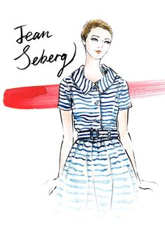 Print from my original illustration of a 60s style icon Jean Seberg. The standard sizes are A4 (8.3 x 11.7) and US letter (8.5 x 11). Please message