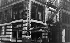 Exterior view of Gerde's Folk City nightclub and restaurant located on West Street in Greenwich Village, New York City. Greenwich Village, Friday Night Fever, The Bowery Boys, City Folk, Washington Square Park, 4th Street, West Village, Folk Music, Bob Dylan