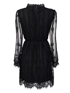 Elegant Elastic Waist Long Sleeve Pleated Stand Collar Mini Lace Dress Online…