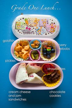 Kid Lunch idea in a Bento box. Cream cheese and jam sandwiches, strawberries, berry kabobs, goldfish, etc.