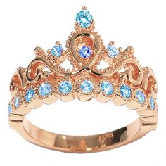 14K Rose Gold Princess Crown with Birthstone by JewelsObsession
