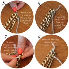 DIY: Woven Chain Collar Necklace | Stripes http://store.metalliferous.com/products.asp?dept=2794