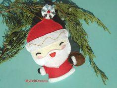 felt Christmas ornament Santa decoration Felt santa ornament personalized Christmas gift kawai by MyFeltDreams on Etsy Felt Christmas Ornaments, Santa Ornaments, Santa Decorations, Personalized Christmas Gifts, Grinch, Xmas, Disney Princess, Holiday Decor, Disney Characters