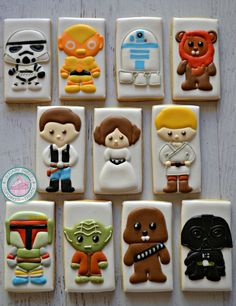 Star Wars!Sweet cartoon styled Characters are perfect for any party or any special gift!Cookies are handmade and expertly decorated just for you, never pre-made or frozen.Each set comes with one of each of the following characters shown.Cookies measure 3inches high and 2 inches wide.Each cookie comes individually sealed and wrapped for max freshness and protection.Please feel free to message me for any additional questions :)