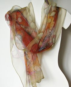 Silk Scarf Hand Painted on natural chiffon silk by silkstory, $70.00
