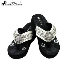 Montana West Bling Bling Circle Concho Collection Flip Flops (SE16-S00 – Handbag-Addict.com