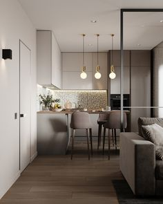 cool Lovely Small Apartment Interior Design Ideas That You Need To Imitate Kitchen Room Design, Modern Kitchen Design, Home Decor Kitchen, Interior Design Kitchen, Small Apartment Interior Design, Kitchen Ideas, Cozy Kitchen, Interior Decorating, Kitchen Layout