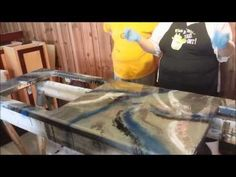 epoxy countertop - YouTube- I don't care for the blue in this but they were experimenting and I would recommend experimenting before trying this on something that would be prominent in your kitchen,