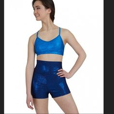 New Capezio Adult High Waisted Dance Shorts  Navy Size adult large. capezio Other