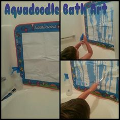Aquadoodle bath art.. Great idea!  I'm going to get it out of the goodwill pile now!