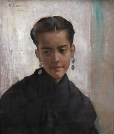 "huariqueje: "" Dolores - Albert Edelfelt 1881 Finnish Oil on panel "" The shadows on the face Female Portrait, Portrait Art, Female Art, Painting Portraits, Portrait Images, Portrait Ideas, Paintings, Helene Schjerfbeck, Prinz Eugen"