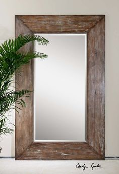 """Generous 10"""""""" Wide Frame With Antiqued Hickory Undertones, Light Gray Wash And Burnished Distressing. Mirror Has A Generous 1 1/4"""""""" Bevel. May Be Hung Either Horizontal Or Vertical.  Dimensions: 80.5"""