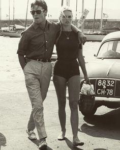 #actor Jacques Charrier with his #wife #brigittebardot in #italy 1959 #actress #1950s #honeymoon #style #fashion #sunglasses #classiccar #marina #sailboat #oldschool #film by oldschool_posted