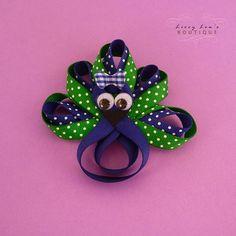 peacock hair bow