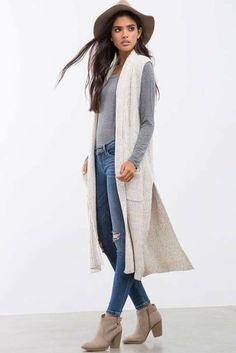 loving this whole look, but ESPECIALLY the long, sleeveless cardigan   Harper Long Line Sweater Vest e9aa2618dac5