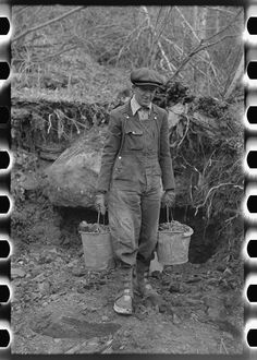 Russell Lee - Gold miner with pails of dirt which he will pan, Two Bit Creek, South Dakota (1938)