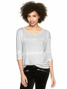 Blusa Gap Women's Variegated Stripe T Gray Stripe #Gap#Blusa