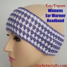 Free crochet pattern for the Easy Popcorn Womens Ear Warmer Headband. The headband features a nice stretch and can be adjusted as needed, Crochet Ear Warmer Pattern, Quick Crochet Patterns, Beginner Crochet Tutorial, Crochet Headband Pattern, Crochet For Beginners, Free Crochet, Knit Crochet, Crochet Tutorials, Learn Crochet