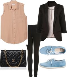 Eleanor Calder inspired outfit for Vegas by eleanorcalder-style featuring gold handbagsEquipment silk button down shirt / Black jacket / Highwaisted jeans / American Apparel flat heel shoes / Gold handbag