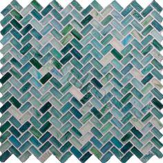 Dynamic Surfaces  Herringbone , Herringbone, Seaside, Frosted, Green, Glass
