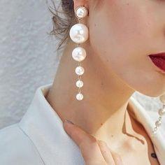 Shop & Buy Fine jewelry pearl drop earrings Women jewelry fashion chic pendant earrings Online from Aalamey Pearl Drop Earrings, Pendant Earrings, Pearl Jewelry, Women's Earrings, Wedding Jewelry, Silver Jewelry, Fine Jewelry, Silver Earrings, Diamond Earrings