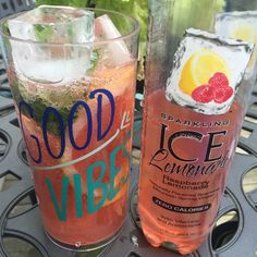 Sparkling ice raspberry lemonade with basil mint grapefruit