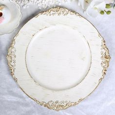 Pack of 6 - White Round Baroque Charger Plates, Leaf Embossed Antique Gold Rim Baroque, Traditional Dinnerware, Cake Holder, Wedding Plates, Wedding Charger Plates, Wedding Tables, 6 Pack, Square Plates, Wedding Catering