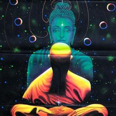 UV Glow Buddha Meditation painting made from fluorescent colors that glow under UV light for PSY parties and home decor. Glow Paint, Fluorescent Colors, Buddha Meditation, Spiritus, Buddha Art, Buddhism, Disney Characters, Fictional Characters, Concept