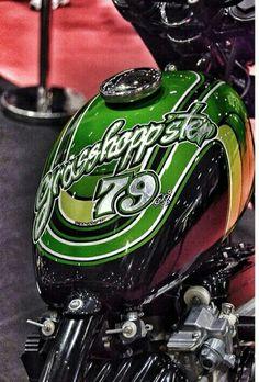 Candy paint, classic peanut tank. Motorcycle Paint Jobs, Candy Paint, Custom Tanks, Harley Davidson Logo, Cool Tanks, Bobber Chopper, Custom Paint Jobs, Custom Harleys, Cool Motorcycles