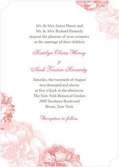 Sweet Peonies - Signature White Textured Wedding Invitations - Louella Press - Sky Martini - Blue : Front