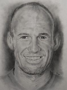 Arjen Robben getekend op A3 formaat met houtskool en grafiet door: Ro's Portraits & Art (Facebook)