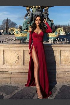 Off shoulder prom dress,red long evening dress,party dress with high split Evening Dresses Long, Prom Dresses Red, Prom Dress Prom Dresses 2019 Prom Dresses Long With Sleeves, Elegant Prom Dresses, Pretty Dresses, Sexy Dresses, Long Sleeve Formal Dress, Long Dresses, Sleeved Prom Dress, Prom Dress Long, Red Long Sleeve Gown