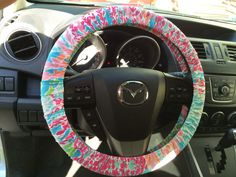Steering Wheel Cover made with Lilly Pulitzer's Let's Cha Cha fabric on Etsy, $24.00