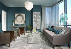 Darker turquoise feature wall, grey/beige matching turquoise