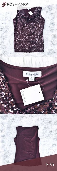 """NWT Calvin Klein draped sequin tank Brand new with tags! Maroon sequin tank with draped neckline from Calvin Klein, size medium. Fully sequined front, back is a soft knit material. Flat measurements are bust 20.5"""", waist 16"""", hips 18"""", length 26"""". Calvin Klein Tops Tank Tops"""
