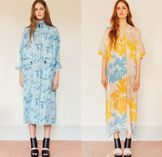 Rodebjer 2015 Resort Womens Lookbook Presentation - 2015 Cruise Pre Spring Fashion Pre Collection Designer Carin Rodebjer - Denim Jeans Flowers Florals Blouse Shirt Print Motif Skinny Tunic Tapered Ruffles Outerwear Trench Coat Coatdress Tunicdress Maxi Shirtdress Sash Cinch Belt Wrap Dots Circles Pattern Furry Skirt Frock Wide Leg Culottes Gauchos Patchwork Palazzo Pants Knit Sweater Jumper Tuxedo Stripe Lace Multi-Panel