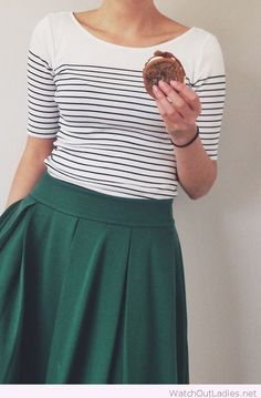 Green skirt with black and white tee