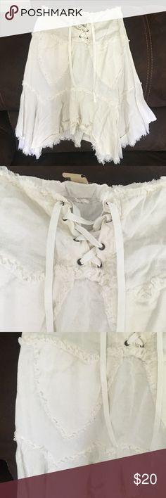 White linen uneven skirt White light linen front tie skirt Skirts